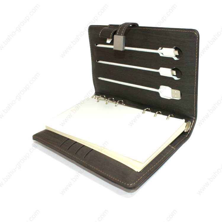 PU Leather Diary with USB Flash Drive and Power Bank
