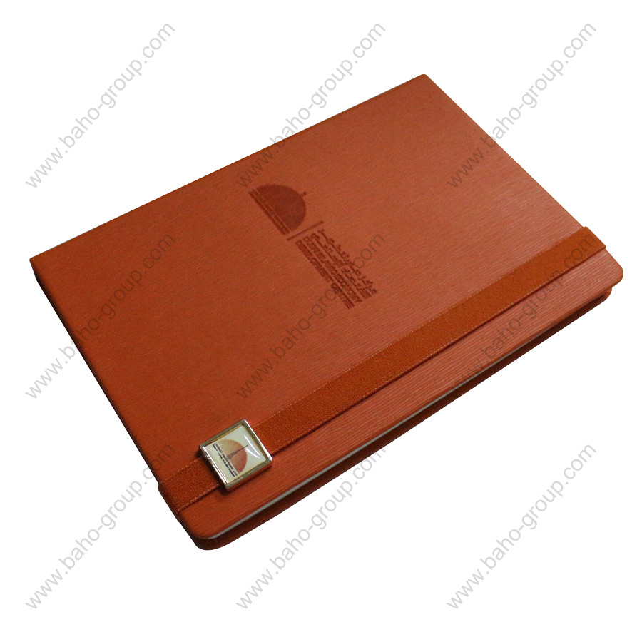 PU Leather Diary with elastic lock and metal logo attached